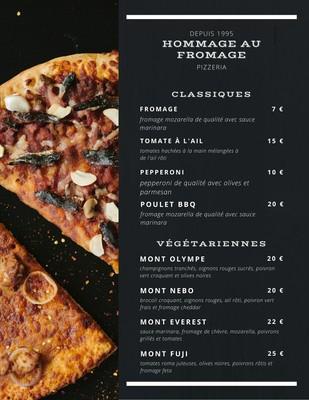 Menu des pizzas