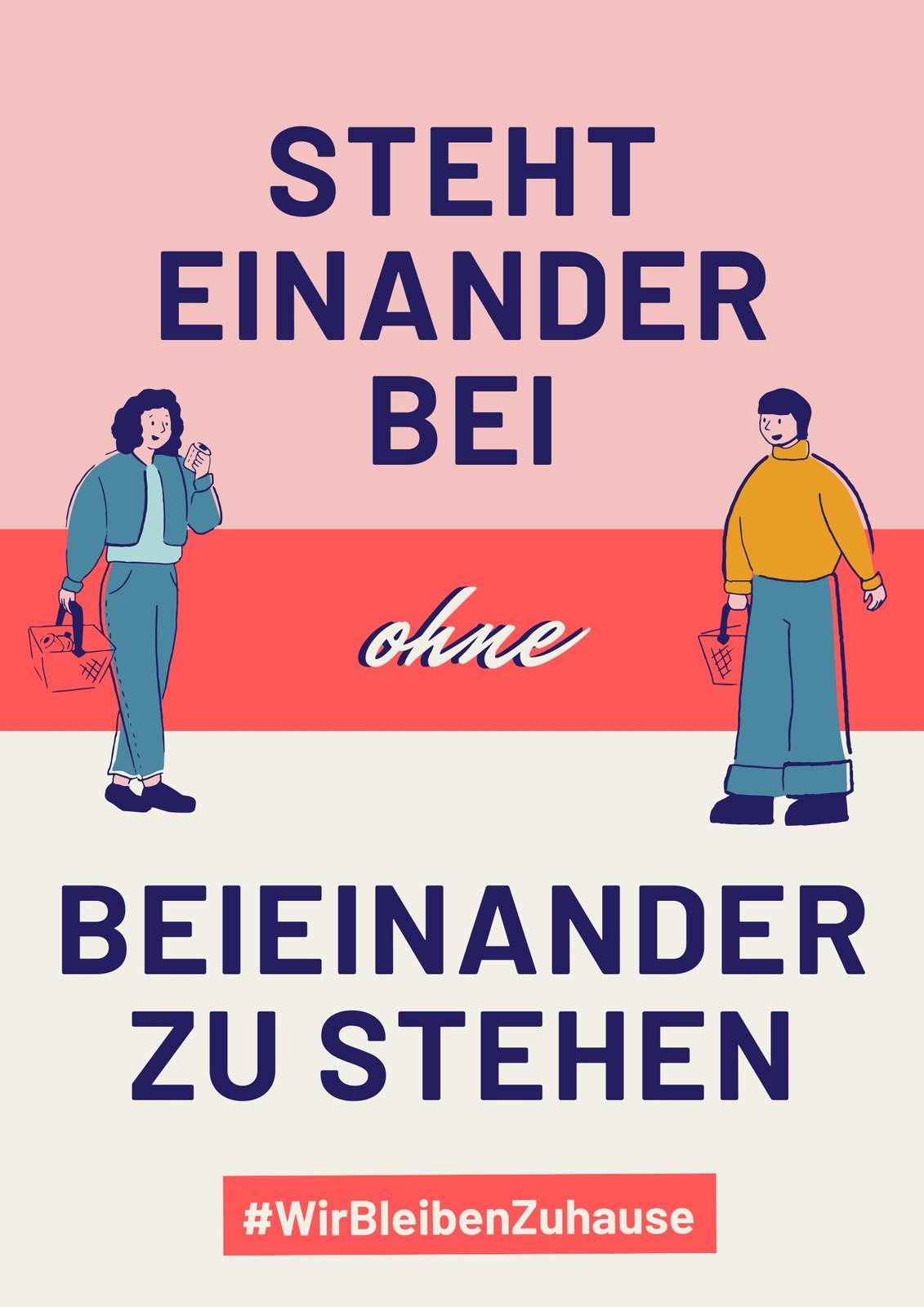Pink-rotes Distanz Gesundheits-Poster