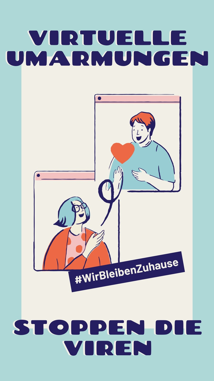 Blaue & cremefarbene Virtuelle Umarmungen & Gesundheit Instagram Story