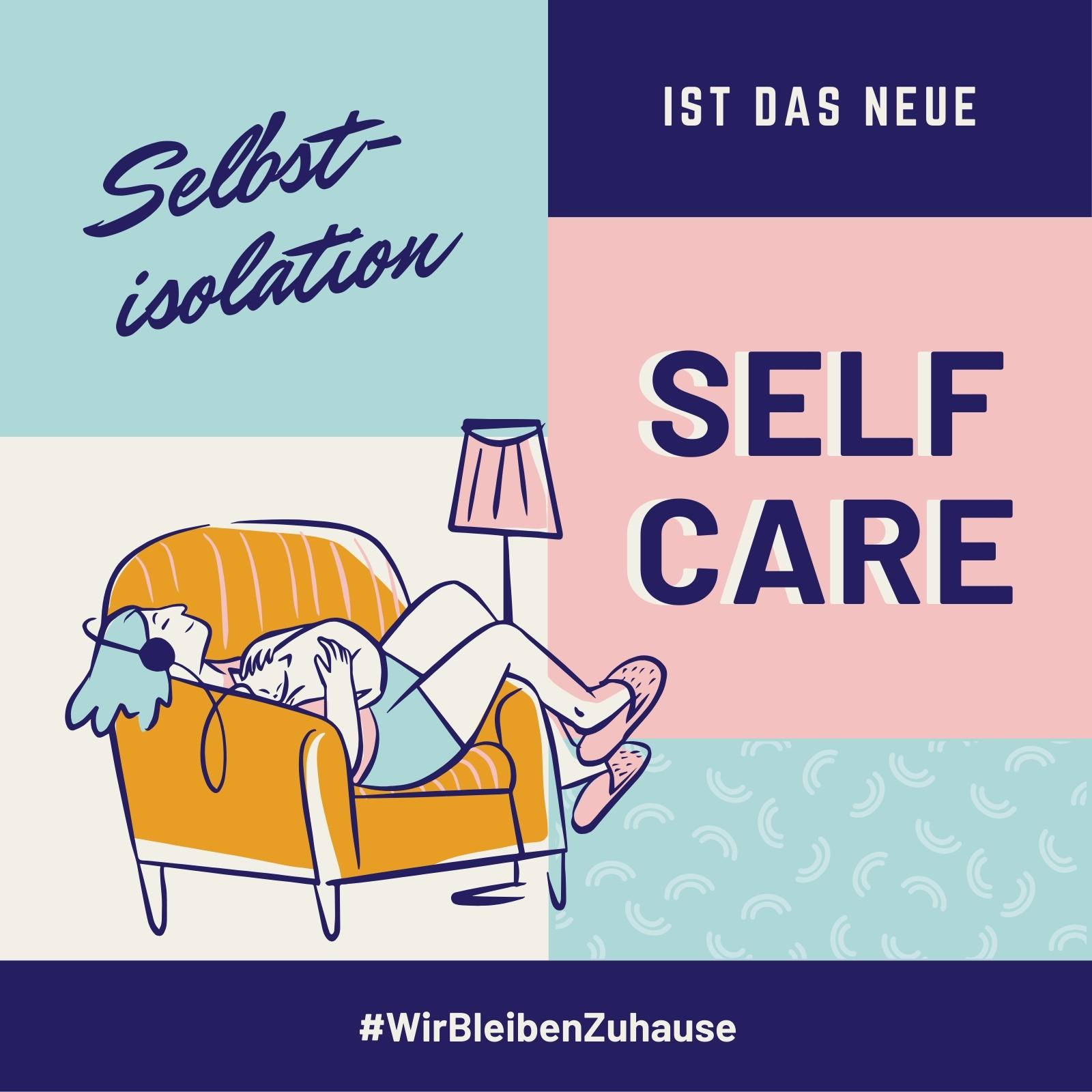 Blau-pinker Selbstisolation & Self-Care Gesundheit Instagram Post