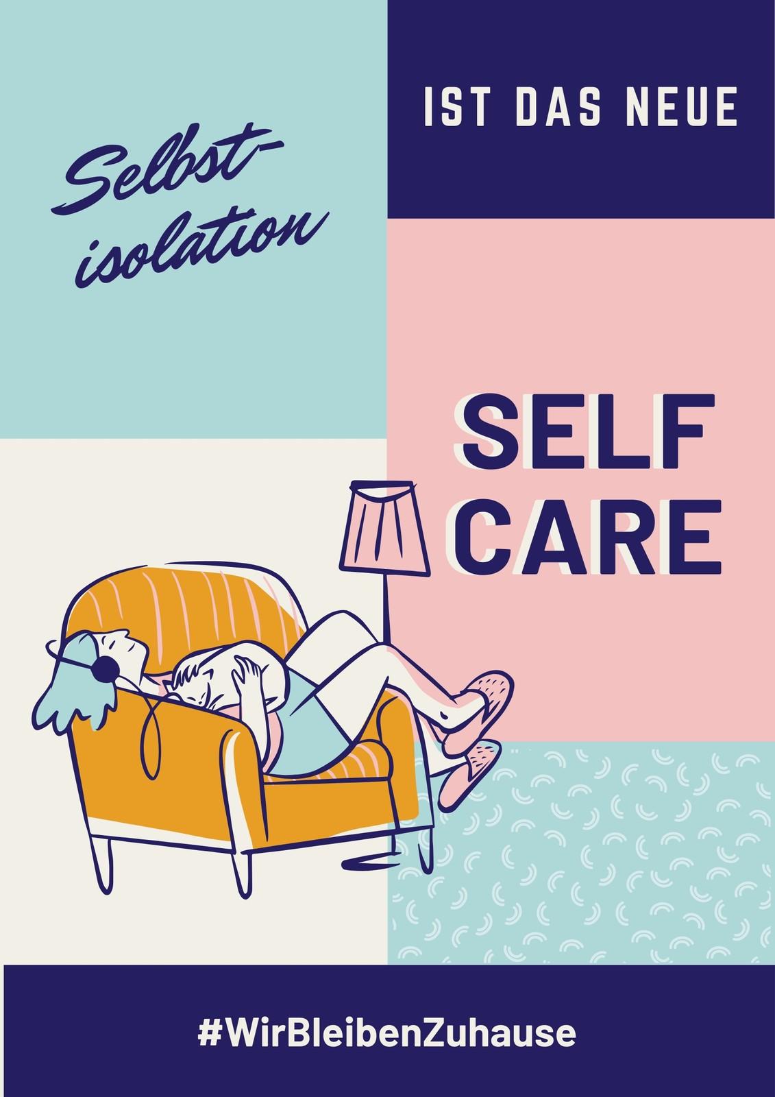 Blau-pinkes Selbstisolation & Self-Care Gesundheits-Poster
