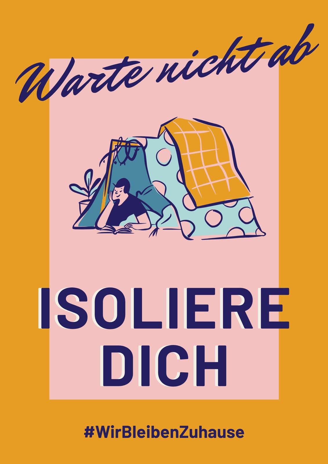 Gelb-pinkes Selbstisolation Gesundheits-Poster