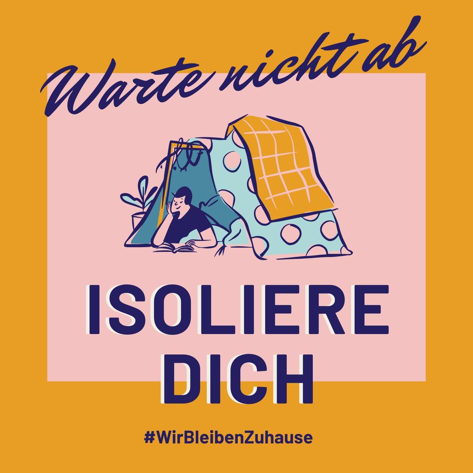 Gelb-pinker Selbstisolation & Gesundheit Instagram Post
