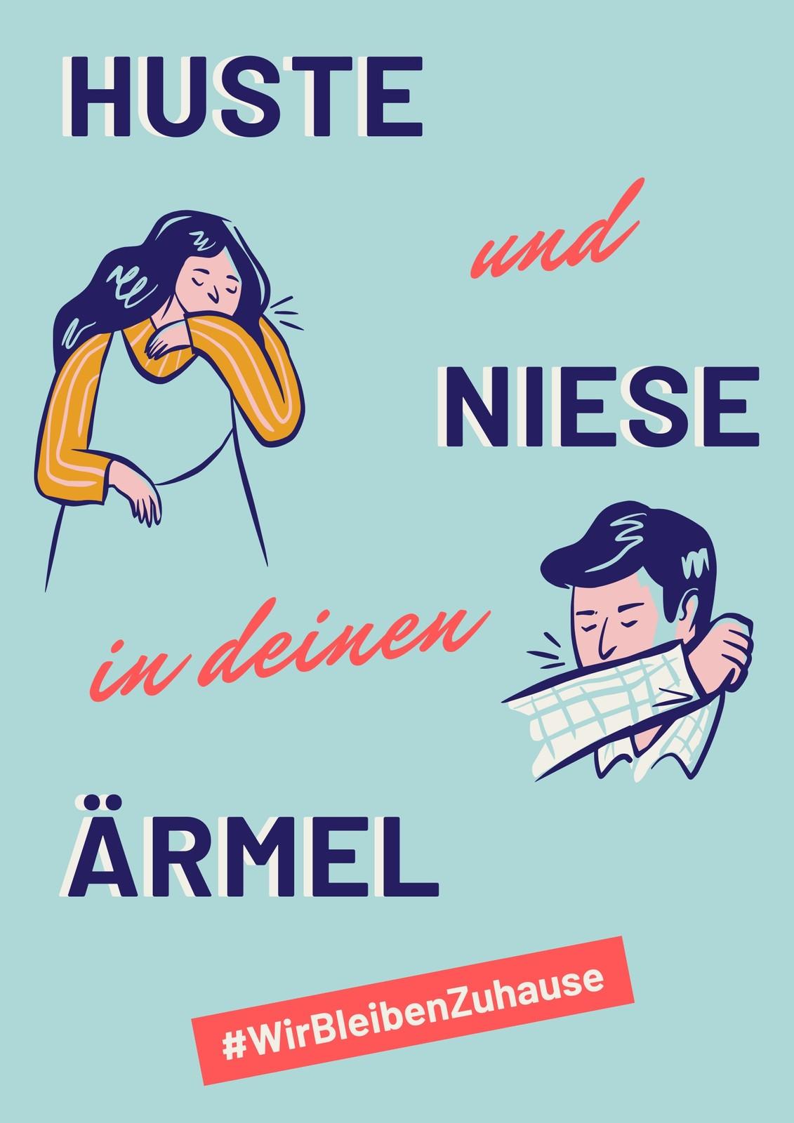 Blaues Husten & Niesen Gesundheits-Poster