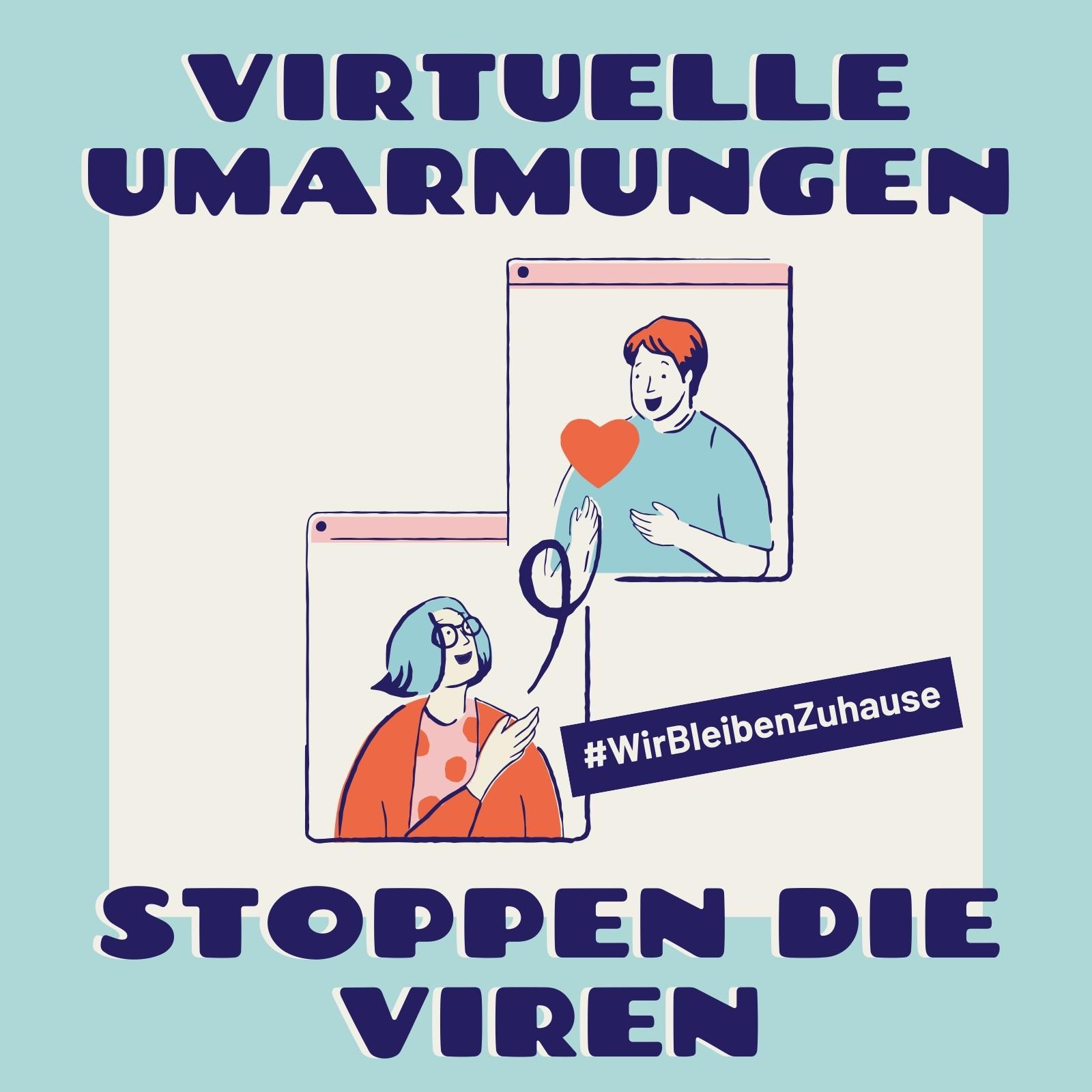 Blauer & cremefarbener Virtuelle Umarmungen & Gesundheit Instagram Post
