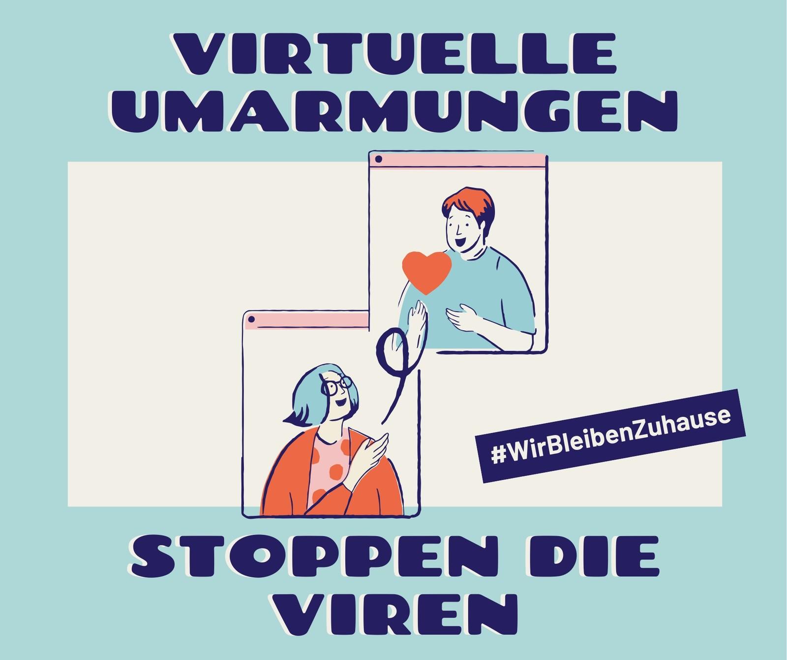 Blauer & cremefarbener Virtuelle Umarmungen & Gesundheit Facebook Post