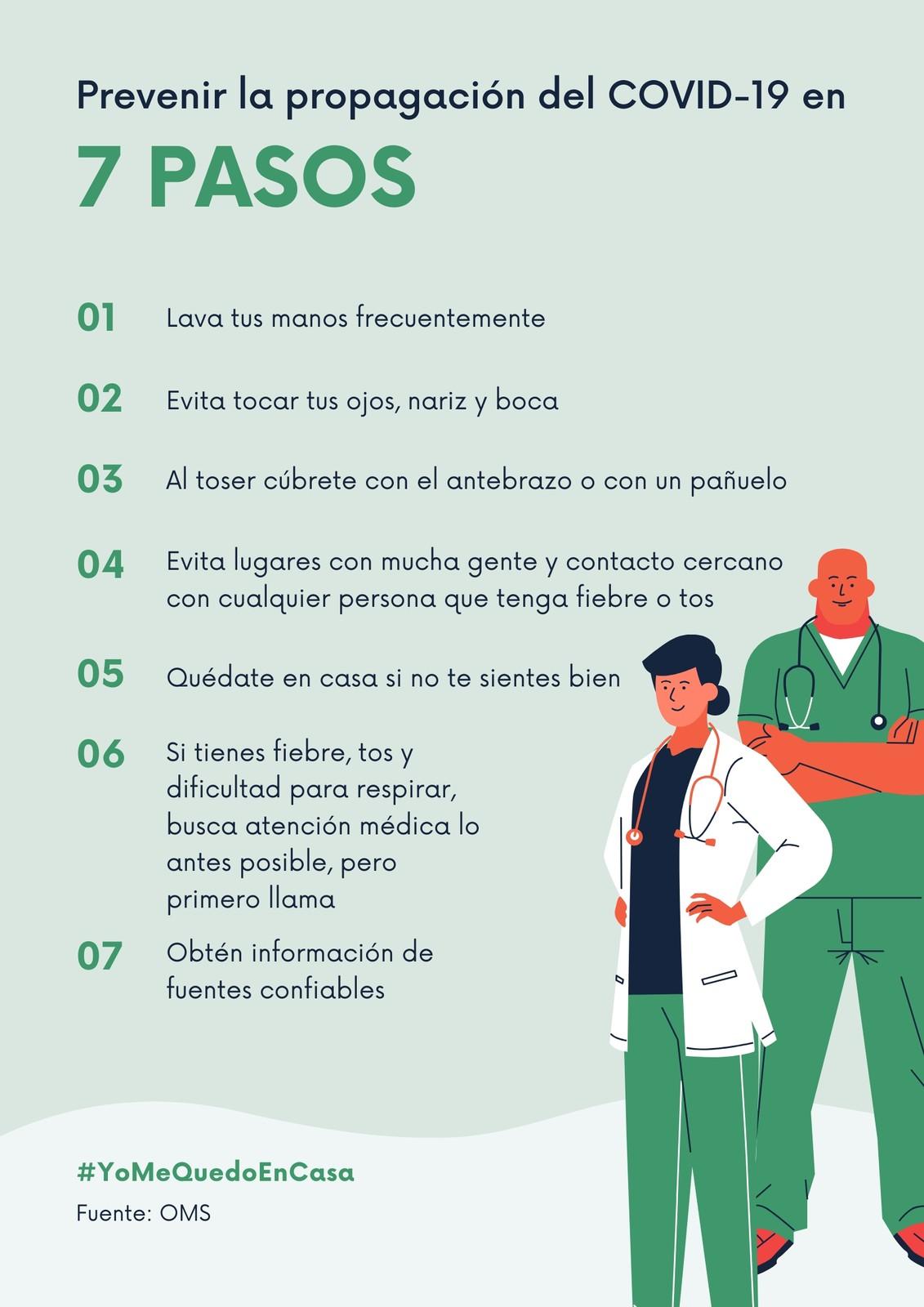 Prevención del coronavirus 7 pasos con fondo rosa Póster