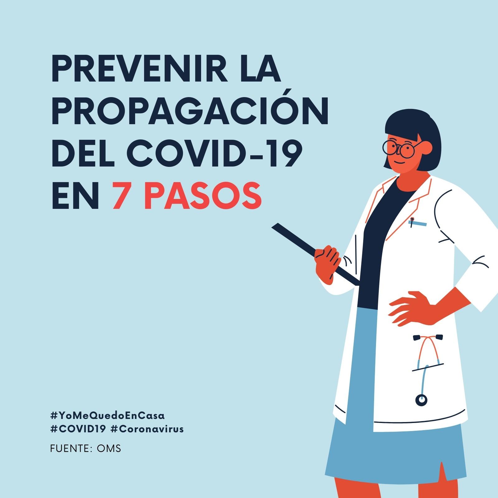 Prevención del coronavirus 7 pasos con fondo azul claro Post para Instagram