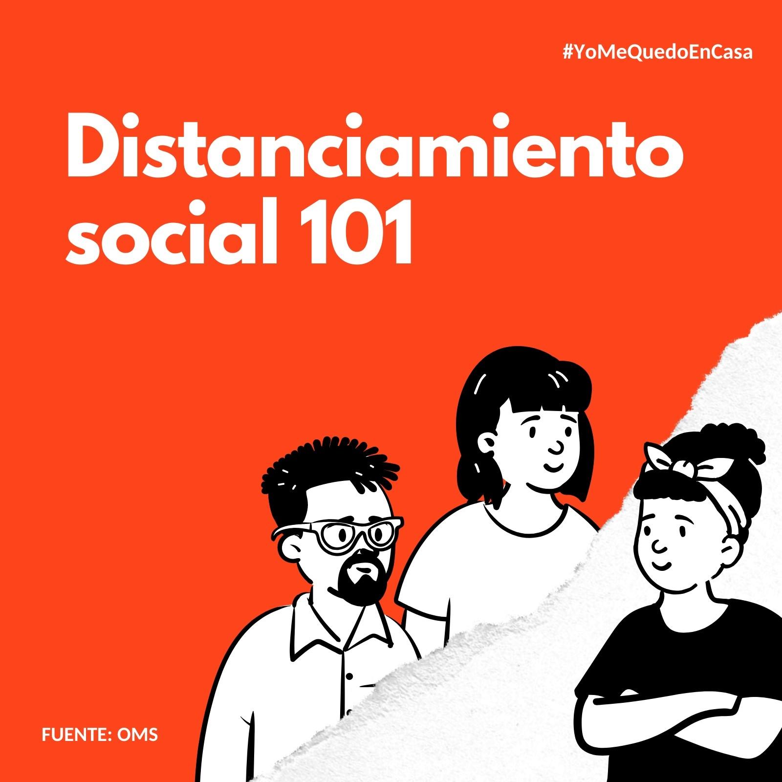 Distanciamiento social coronavirus con fondo naranja Post para Instagram
