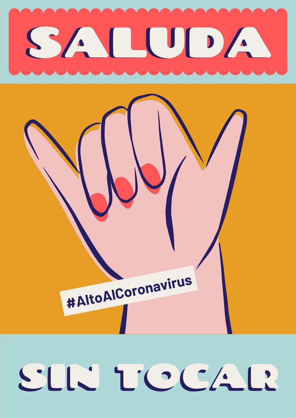 Alto Al Coronavirus Saluda sin Tocar Colorido Póster