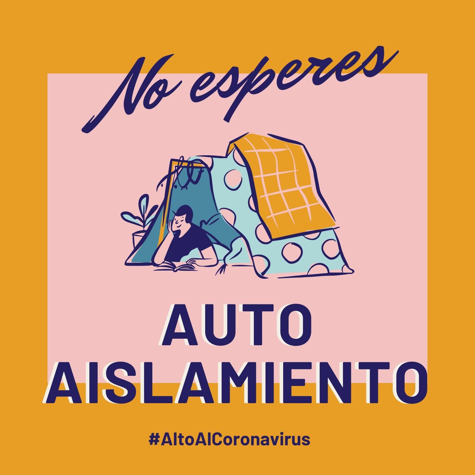 Alto Al Coronavirus No Esperes Autoaislamiento Amarillo y Rosa Post para Instagram