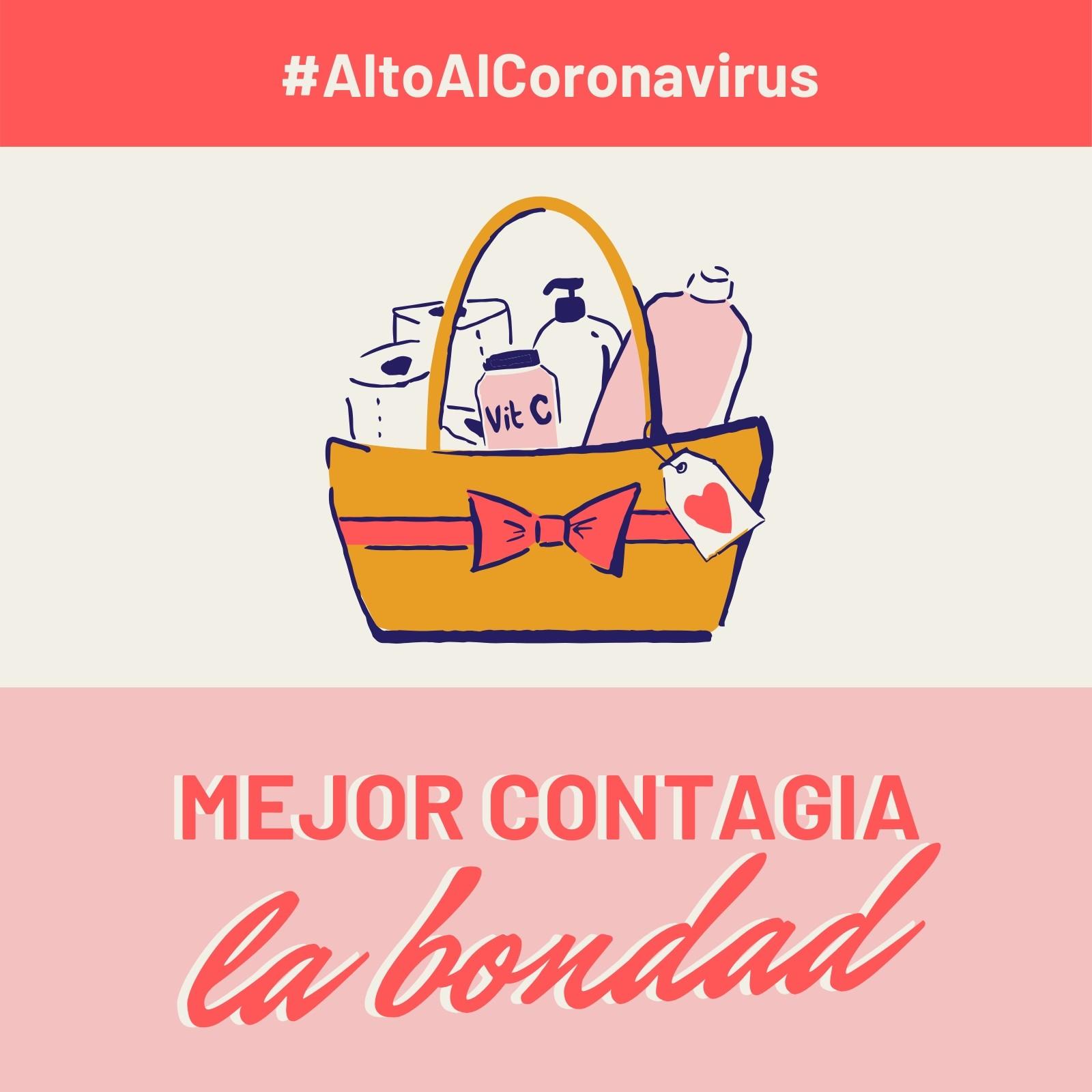 Alto Al Coronavirus Mejor Contagia Bondad Rosa y Rojo Post para Instagram