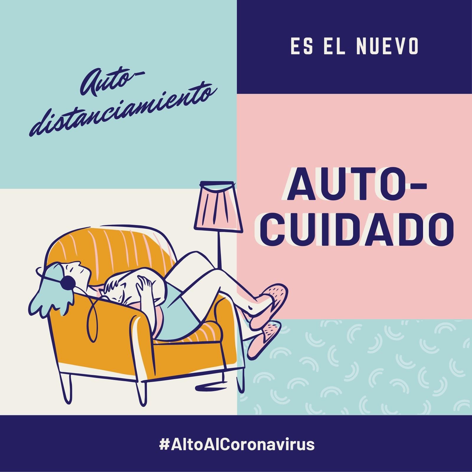 Alto Al Coronavirus Auto-distanciamiento es el Nuevo Autocuidado Azul y Rosa Post para Instagram