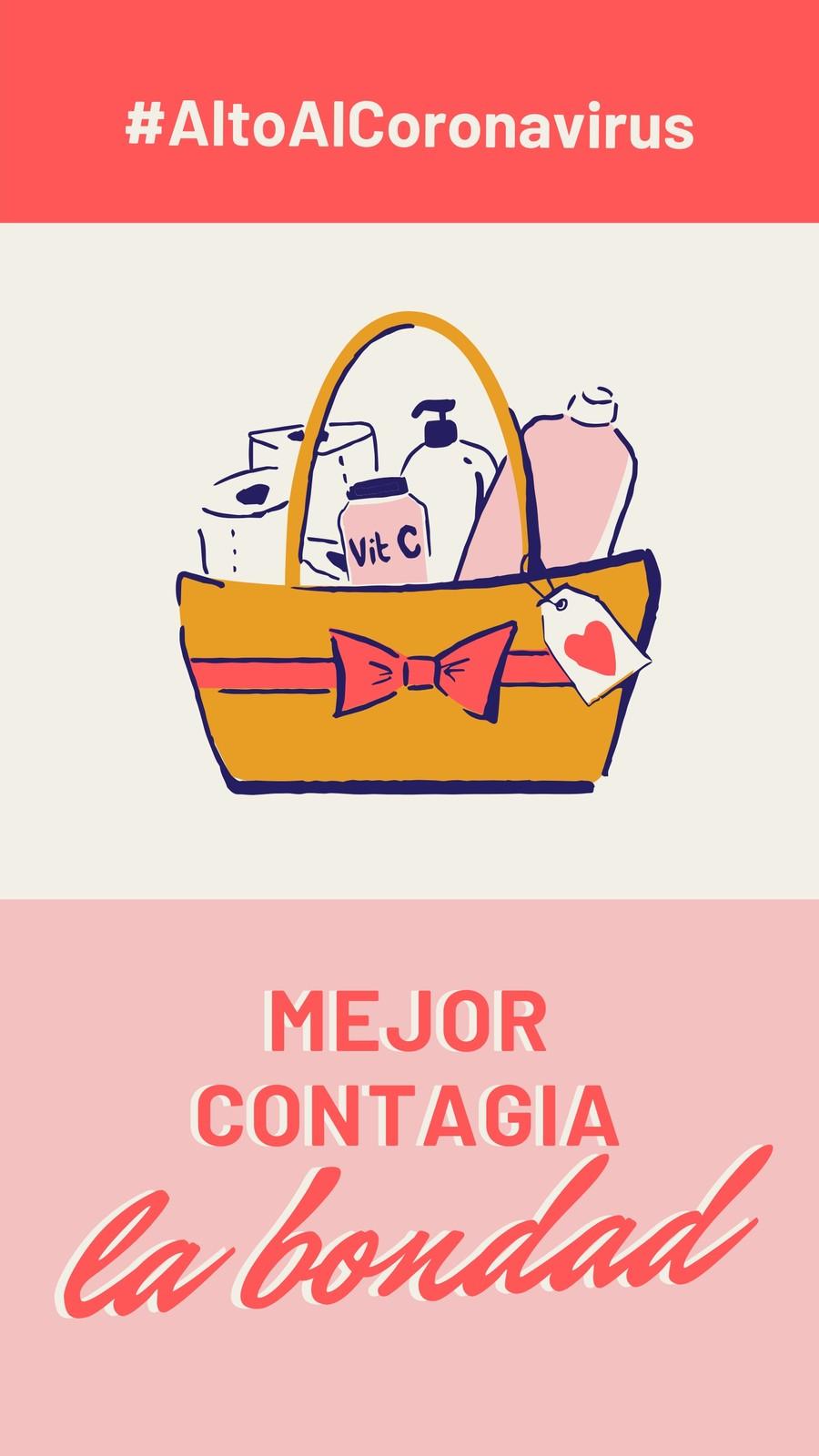 Alto Al Coronavirus Mejor Contagia Bondad Rosa y Rojo Instagram Story