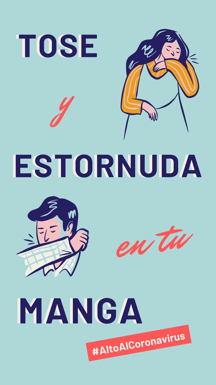 Alto Al Coronavirus Tose y Estornuda en Tu Manga Azul Instagram Story