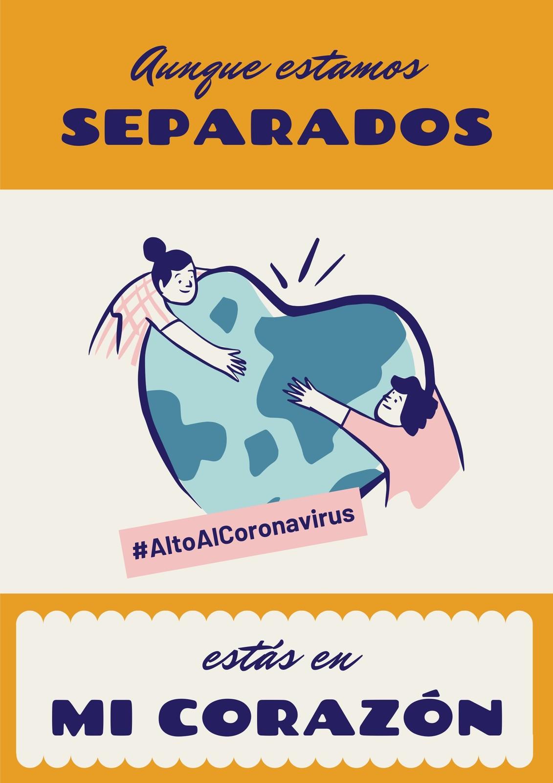 Alto Al Coronavirus Aunque Estamos Separados Estás En Mi Corazón Amarillo Póster