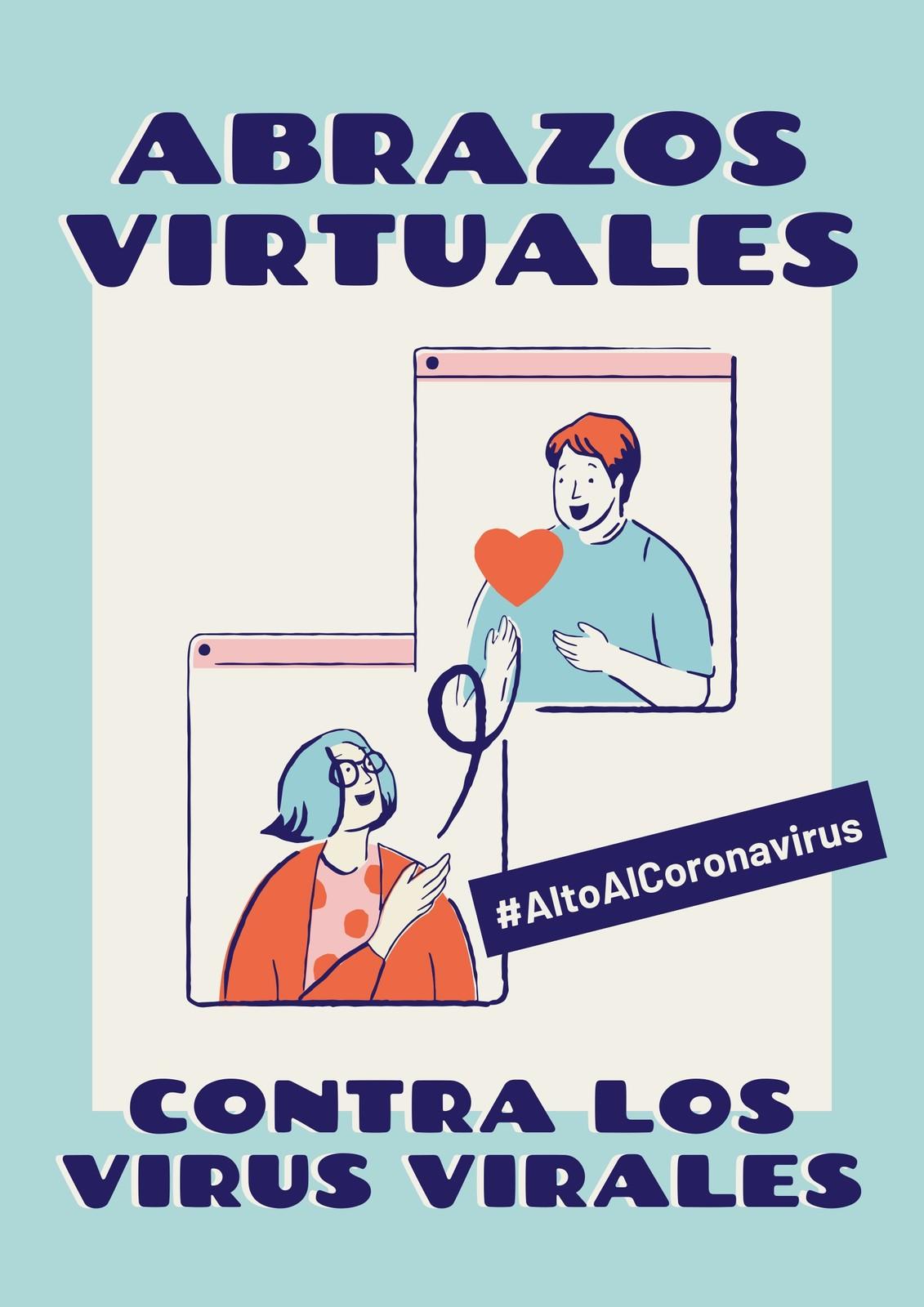 Alto Al Coronavirus Abrazos Virtuales Contra Los Virus Virales Azul y Crema Póster