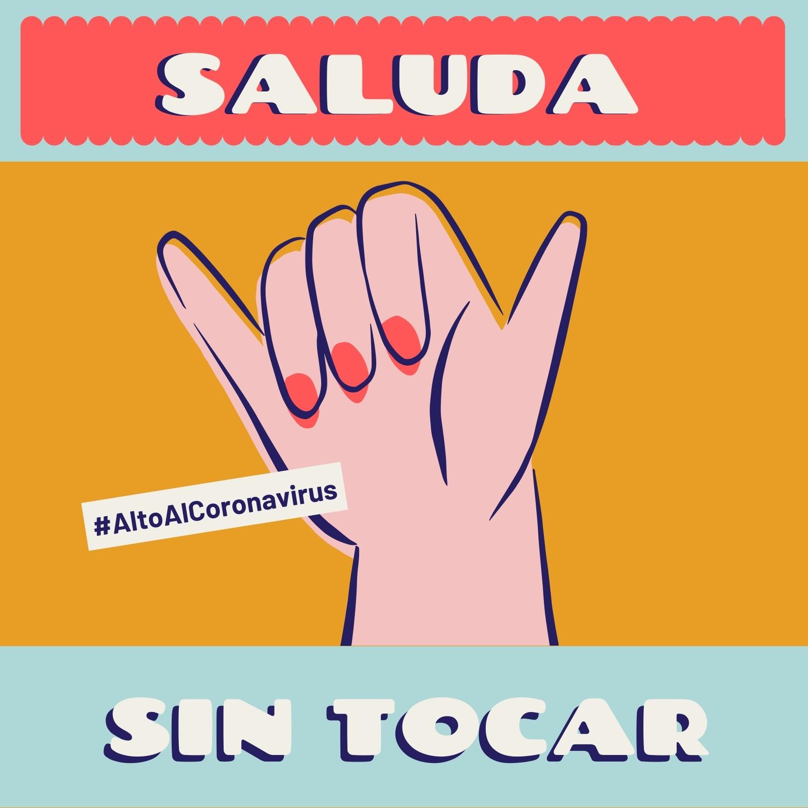Alto Al Coronavirus Saluda sin Tocar Colorido Post para Instagram