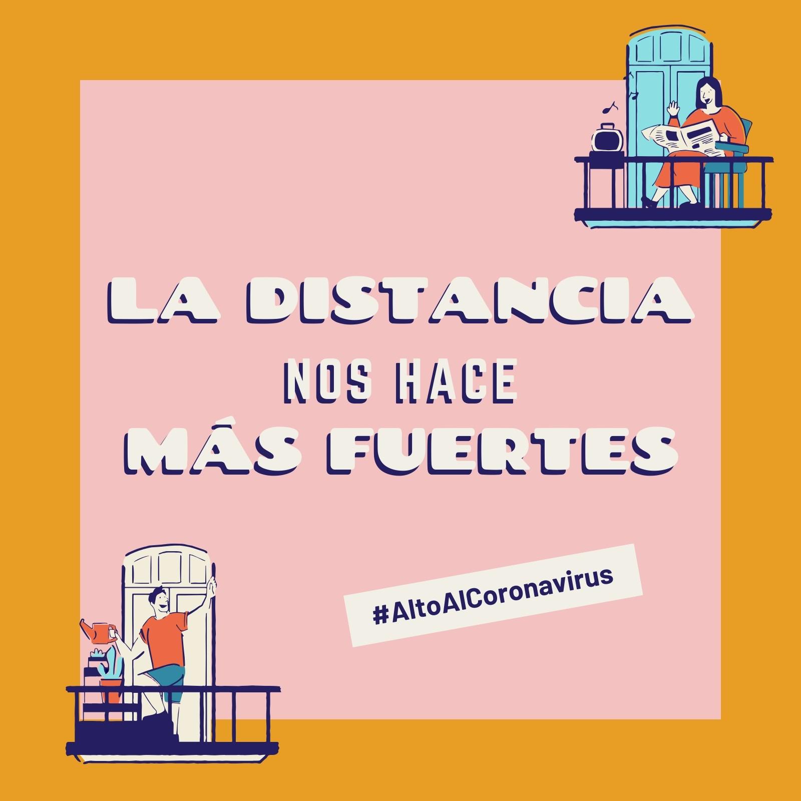 Alto Al Coronavirus La Distancia Nos Hace Más Fuertes Rosa y Amarillo Post para Instagram