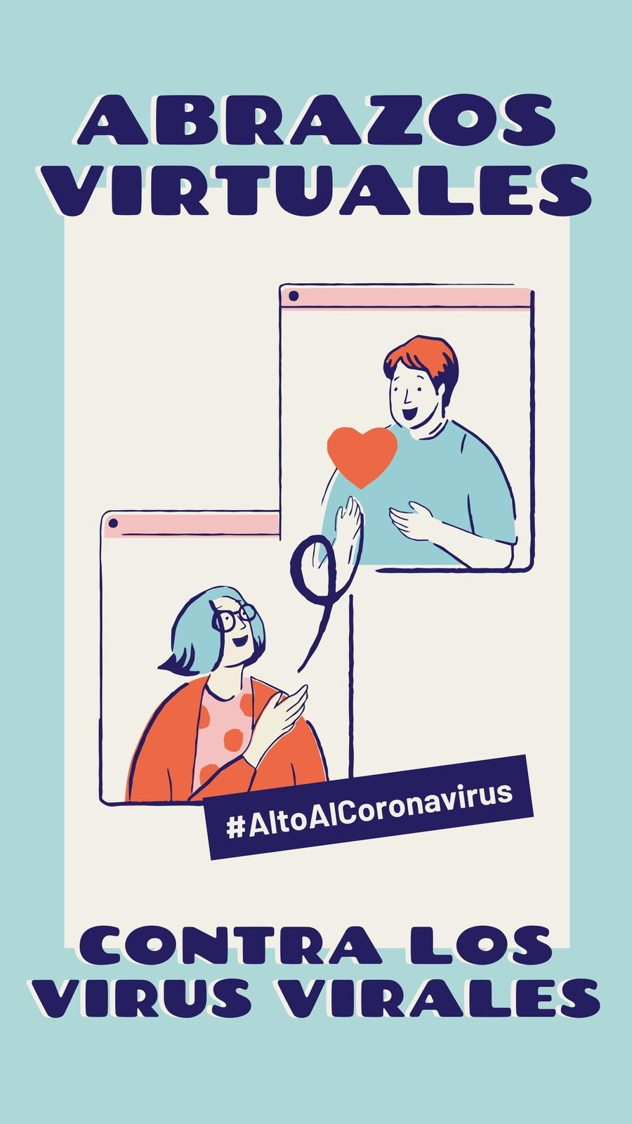 Alto Al Coronavirus Abrazos Virtuales Contra Los Virus Virales Azul y Crema Instagram Story