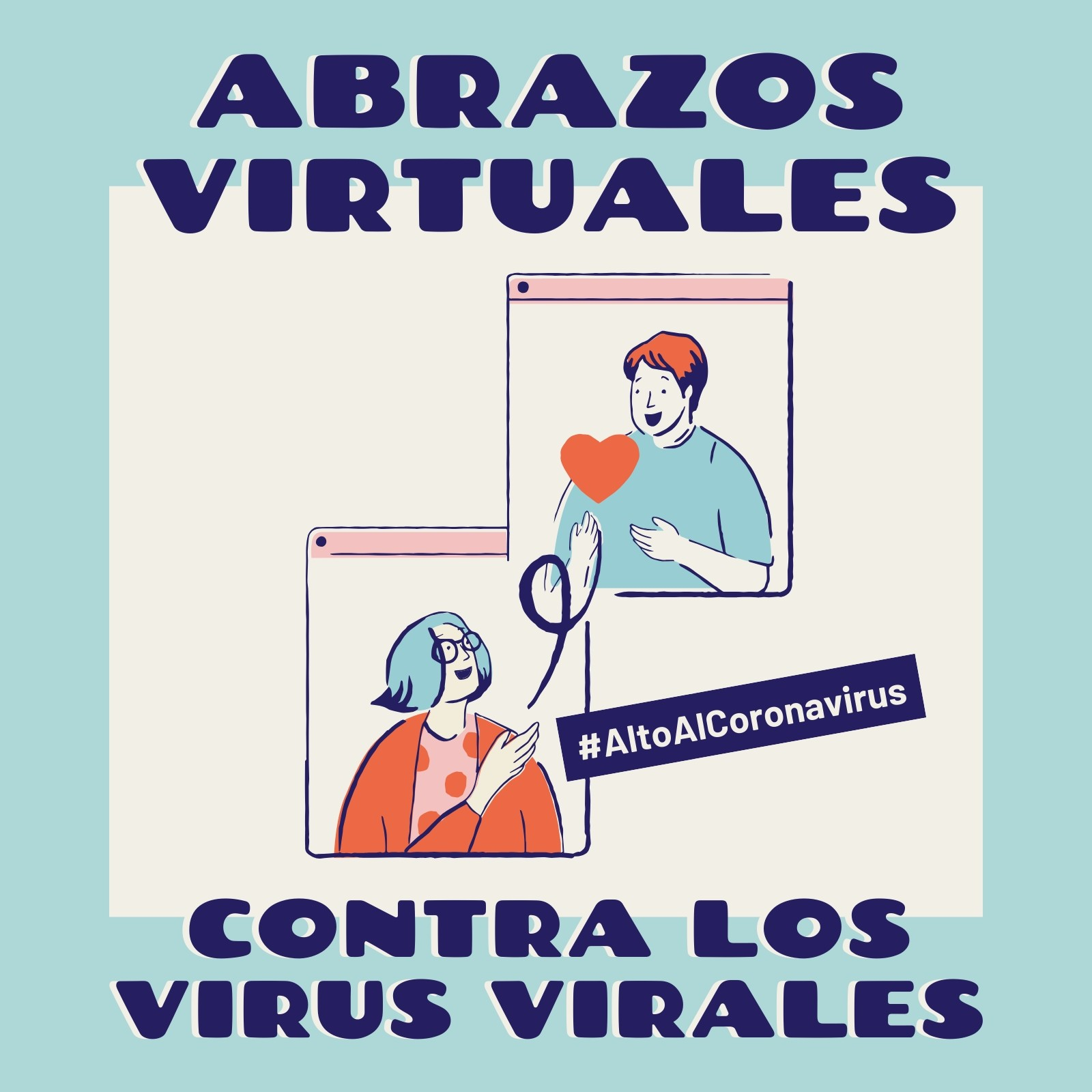Alto Al Coronavirus Abrazos Virtuales Contra Los Virus Virales Azul y Crema Post para Instagram