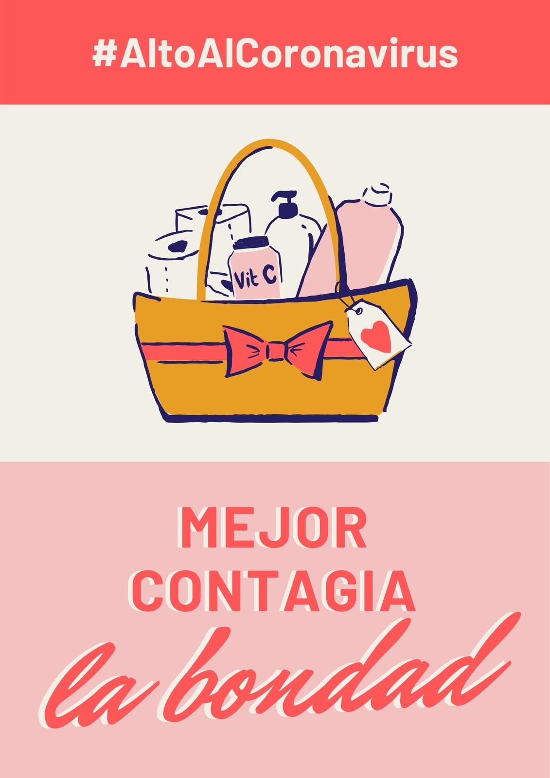 Alto Al Coronavirus Mejor Contagia Bondad Rosa y Rojo Póster