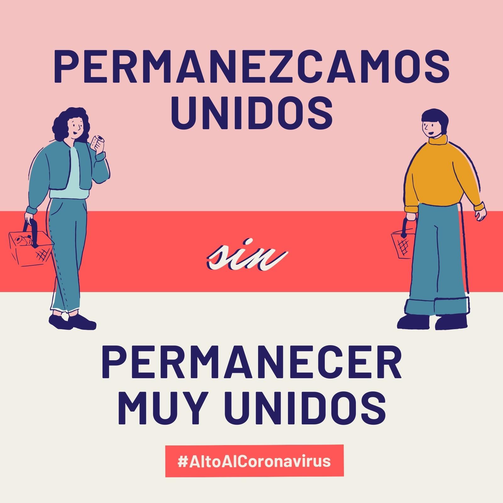 Alto Al Coronavirus Permanezcamos Unidos sin Permanecer Muy Unidos Rosa y Rojo Post para Instagram