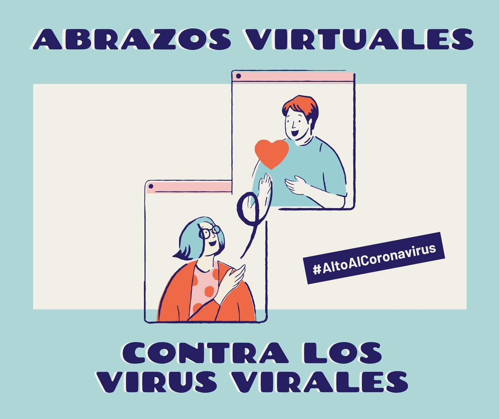 Alto Al Coronavirus Abrazos Virtuales Contra Los Virus Virales Azul y Crema Post para Facebook