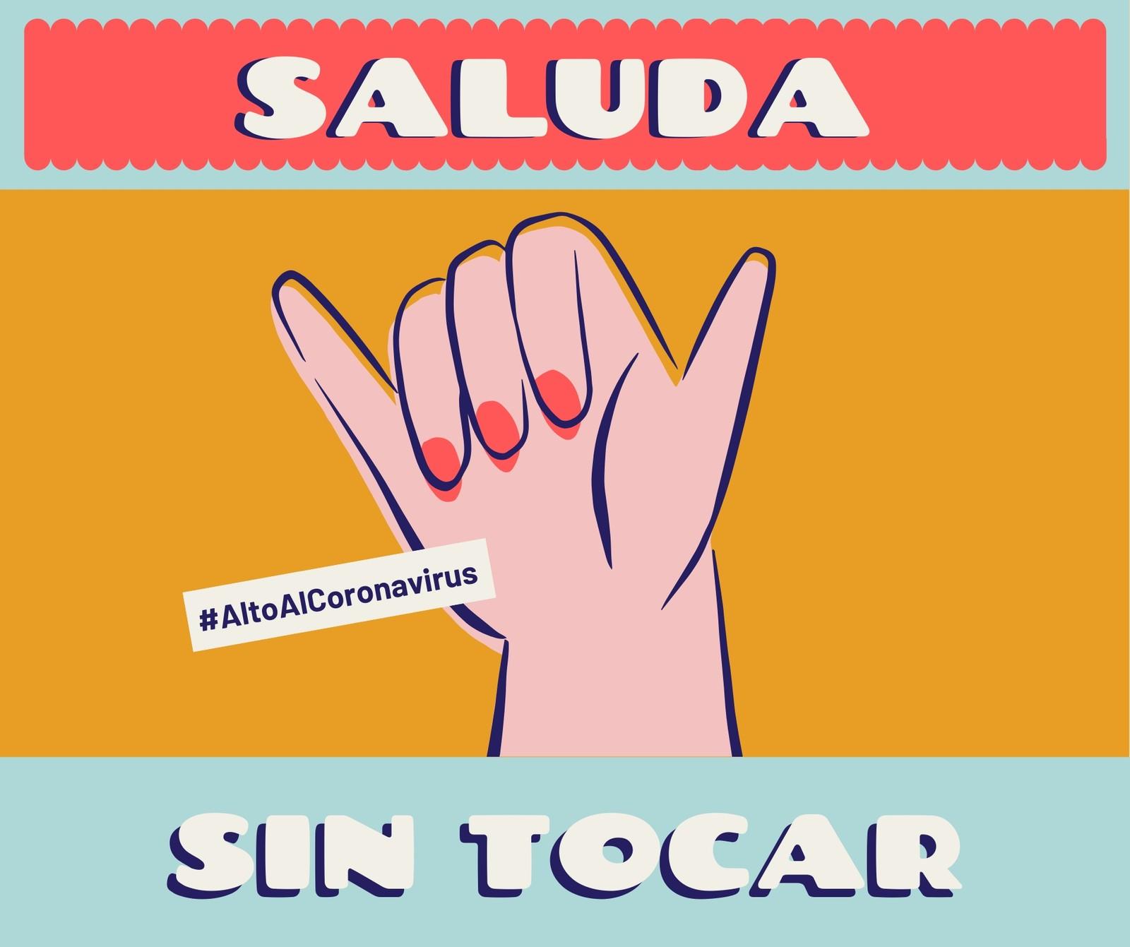 Alto Al Coronavirus Saluda sin Tocar Colorido Post para Facebook