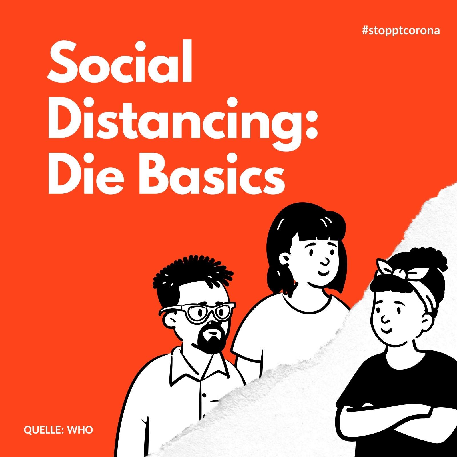 Rot und Weiß Corona Virus Social Distancing Basics Instagram Post