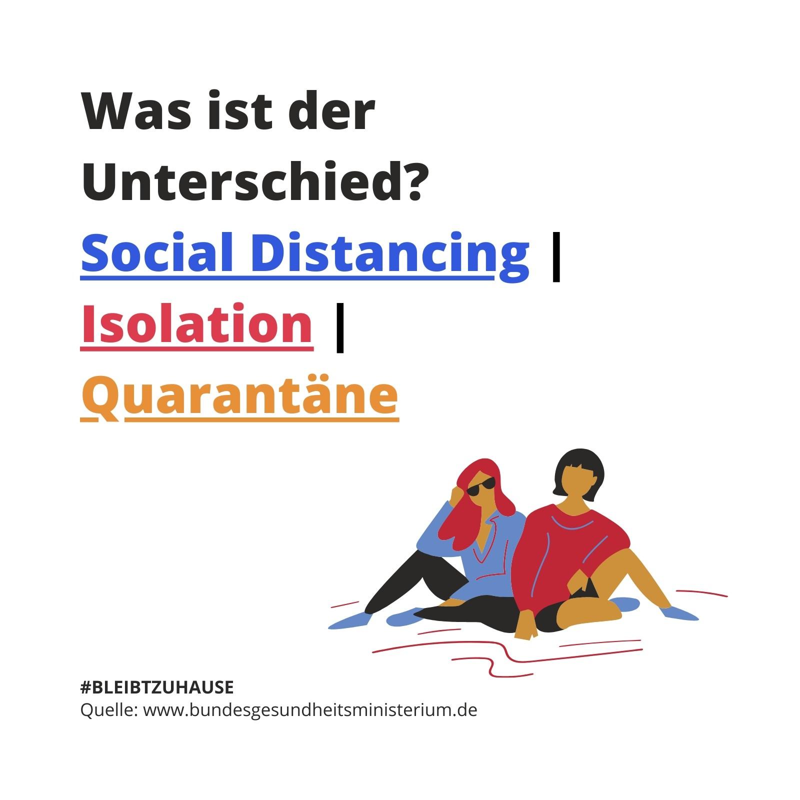 Social Distancing, Isolation und Quarantäne Corona Virus Aufmerksamkeit Instagram Post