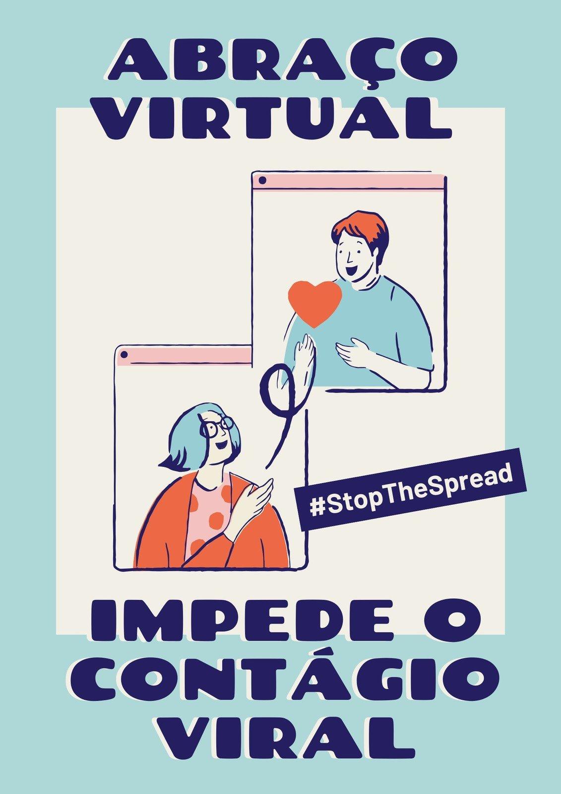 Cartaz Azul e Creme de Abraço Virtual
