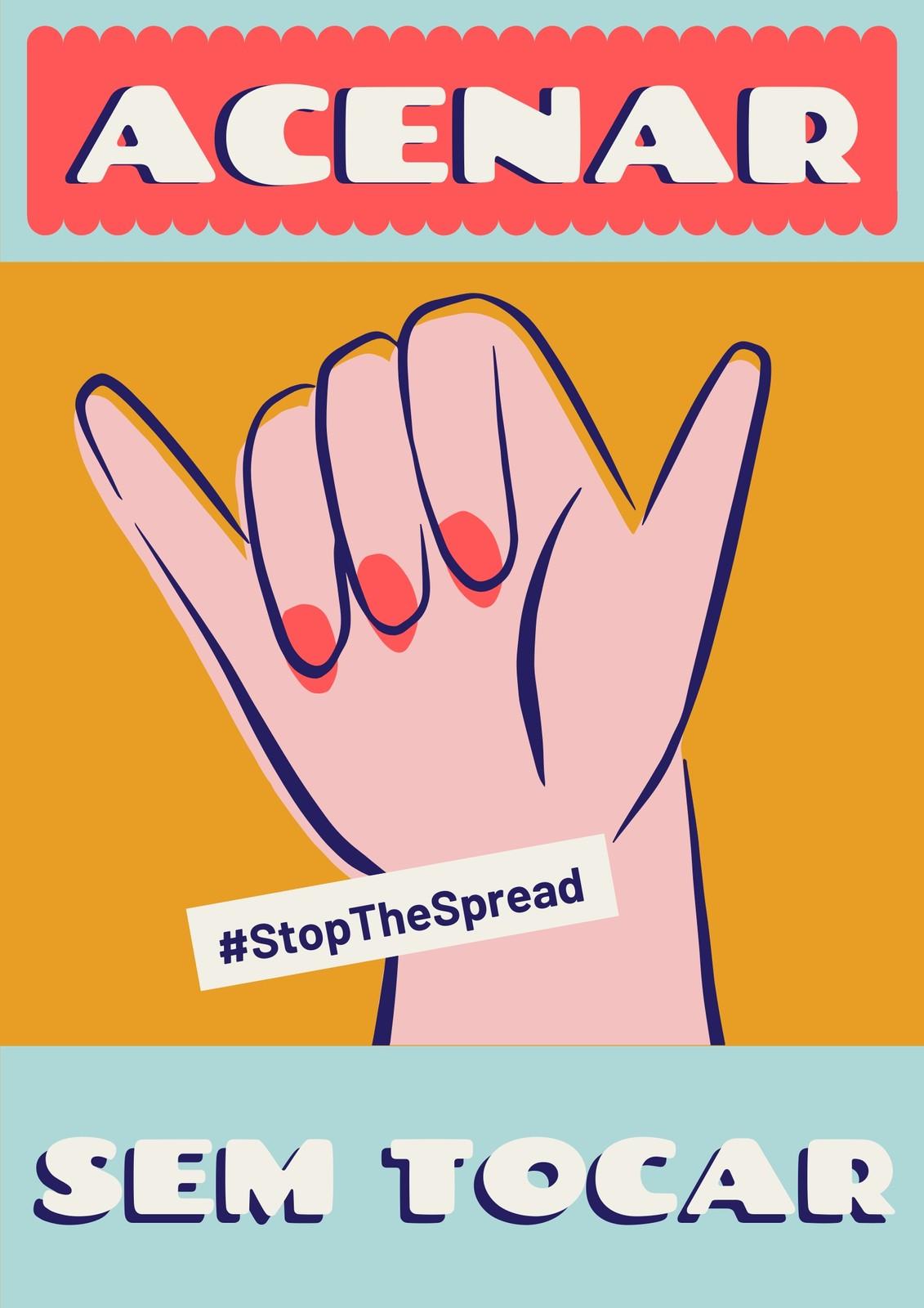 Cartaz Colorido da Campanha Acenar sem Tocar