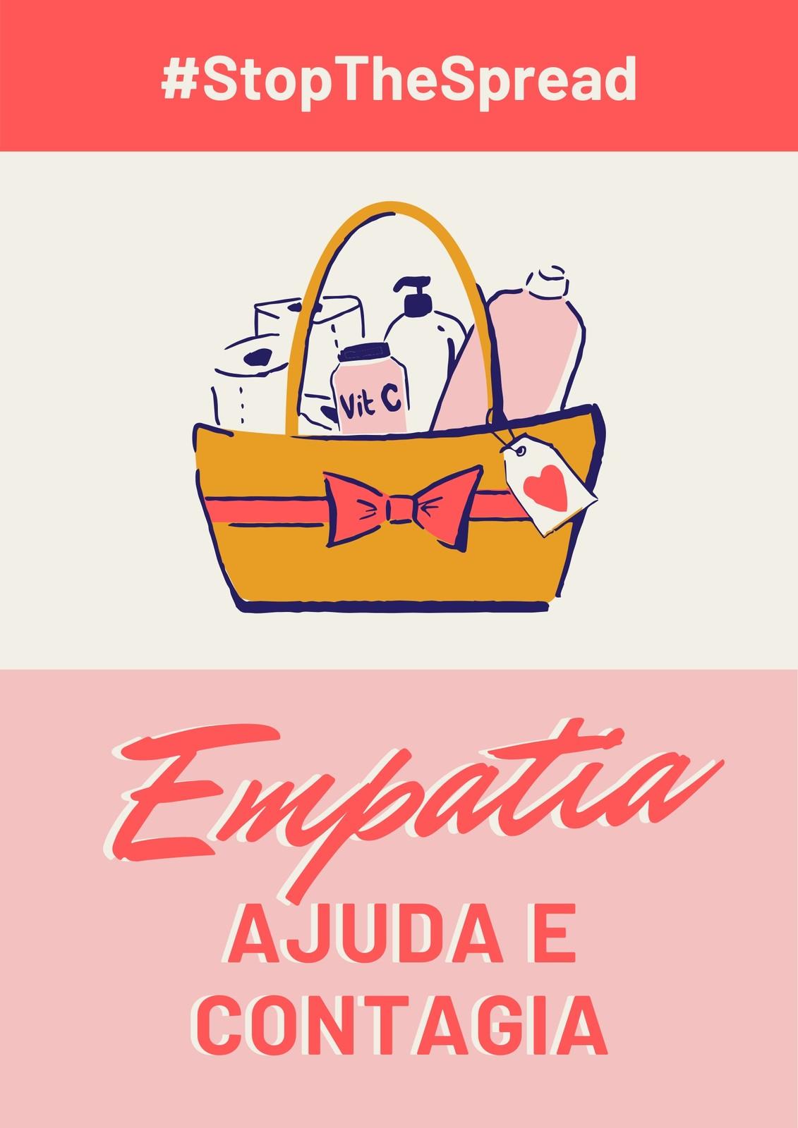 Cartaz Vermelho e Rosa de Empatia e Stop the Spread