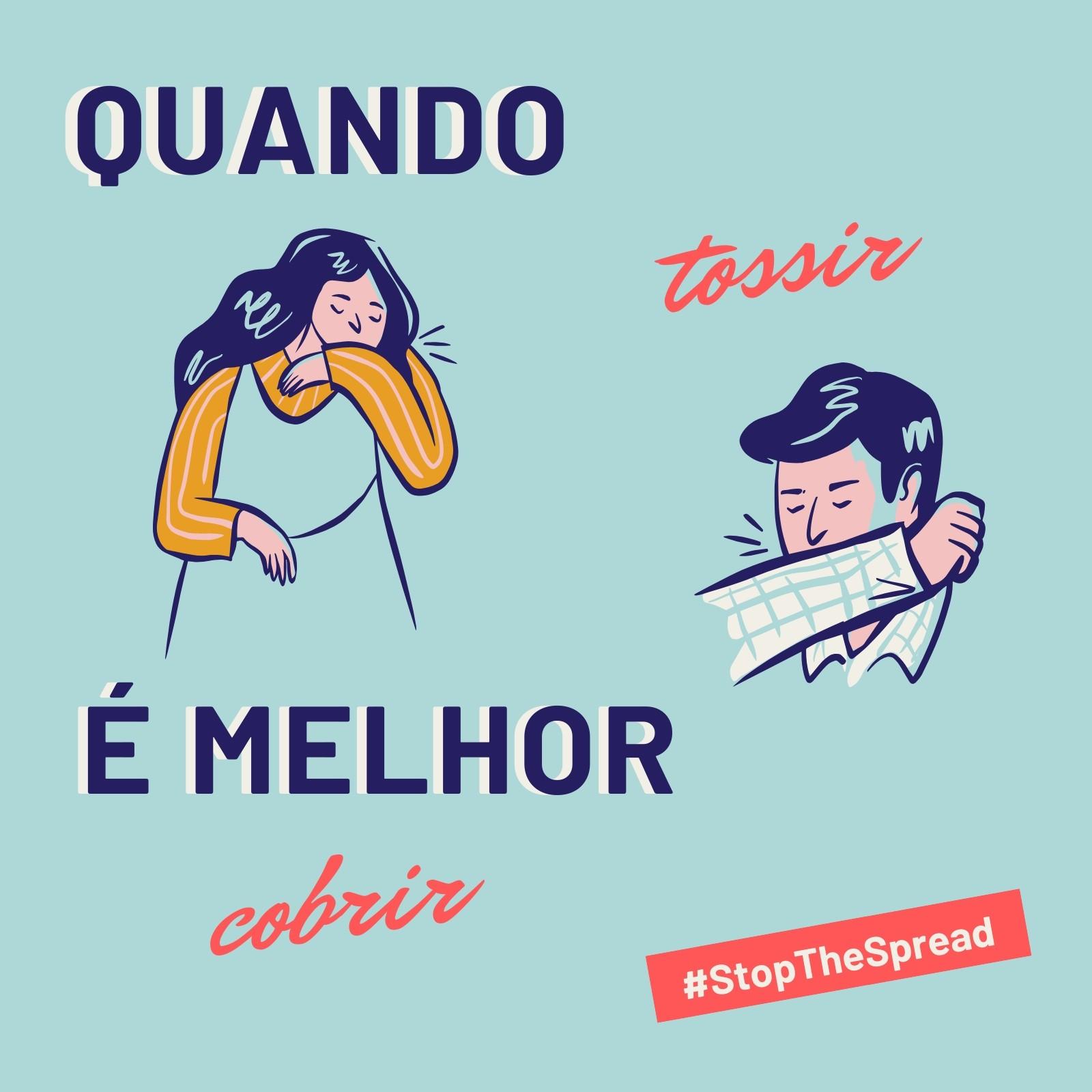 Post Azul das Campanhas Cobrir para Tossir e Stop the Spread para Instagram