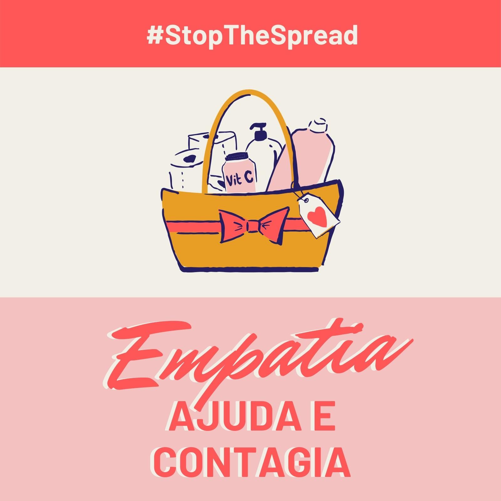 Post Vermelho e Rosa de Empatia e Stop the Spread para Instagram