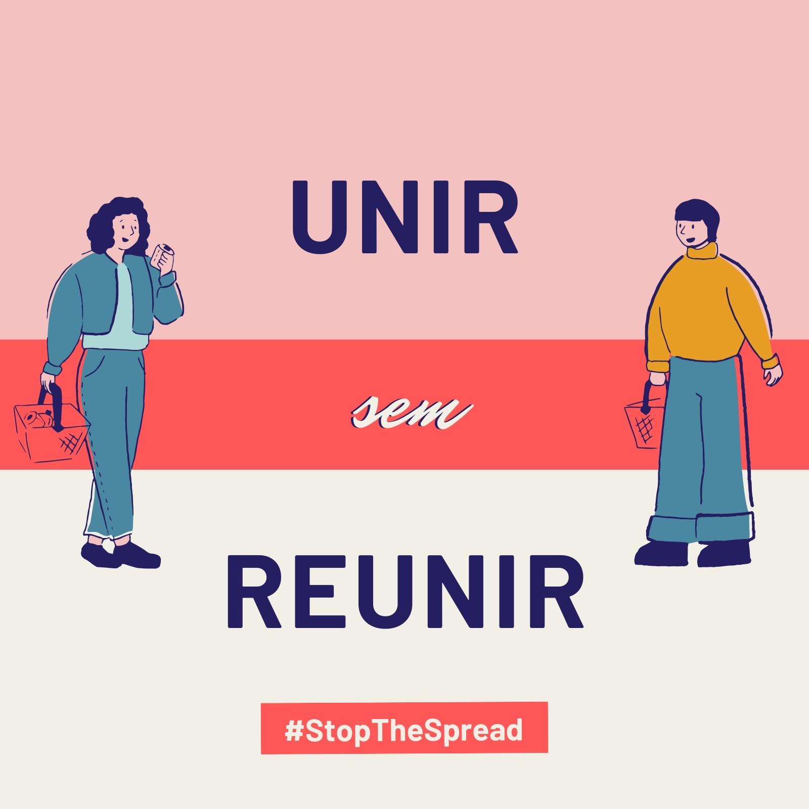 Post Rosa e Vermelho das Campanhas Stop the Spread e Unir sem Reunir para Instagram
