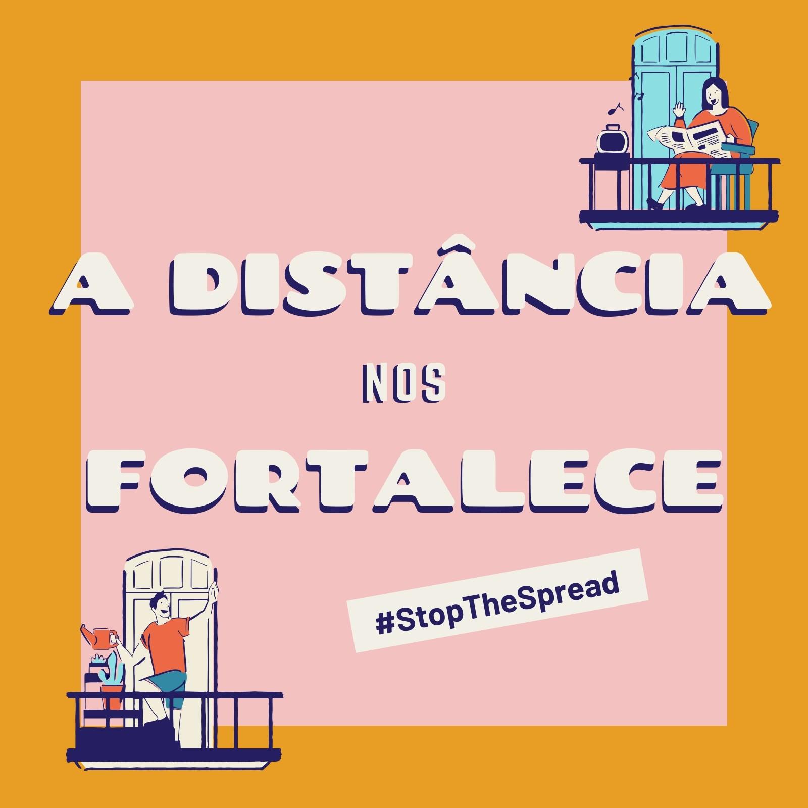 Post Amarelo e Rosa da Campanha Distância Fortalece para Instagram