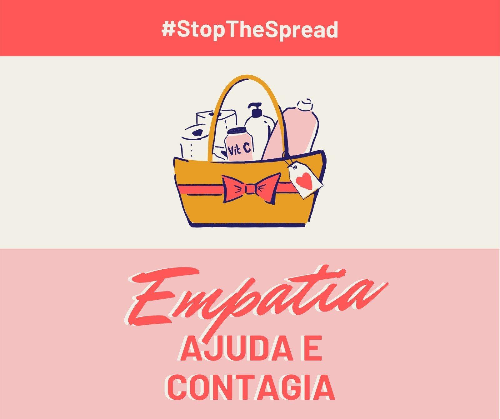 Post Vermelho e Rosa de Empatia e Stop the Spread para Facebook