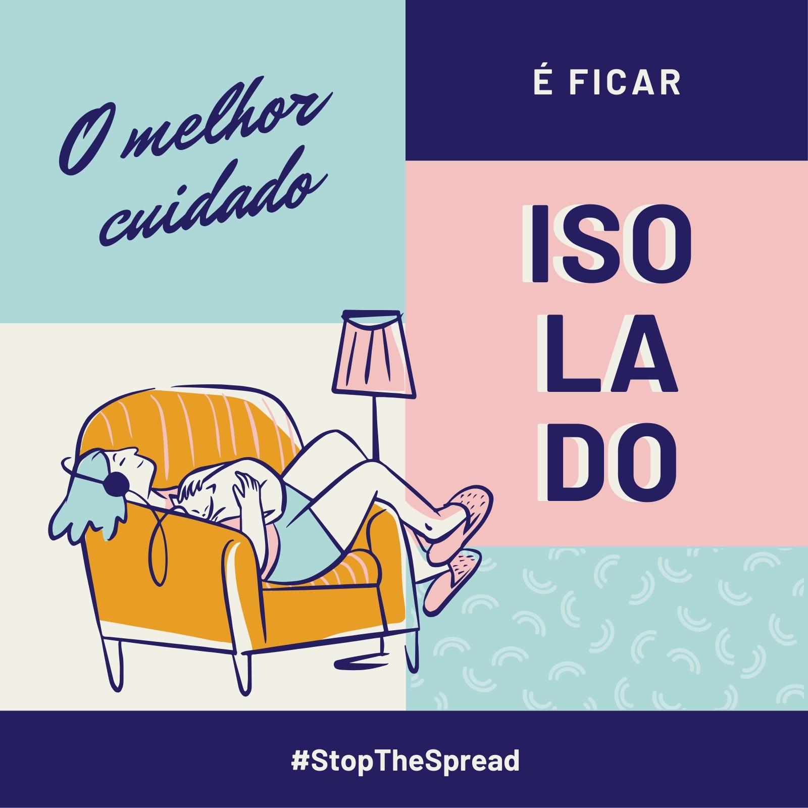 Post Azul e Rosa das Campanhas Stop the Spread e Autodistanciamento para Instagram