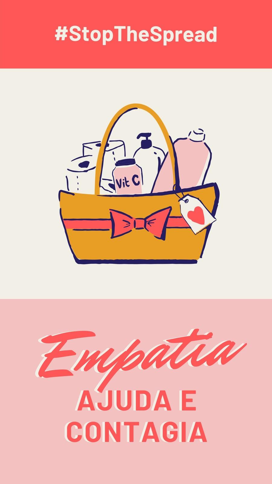 Story Vermelho e Rosa de Empatia e Stop the Spread