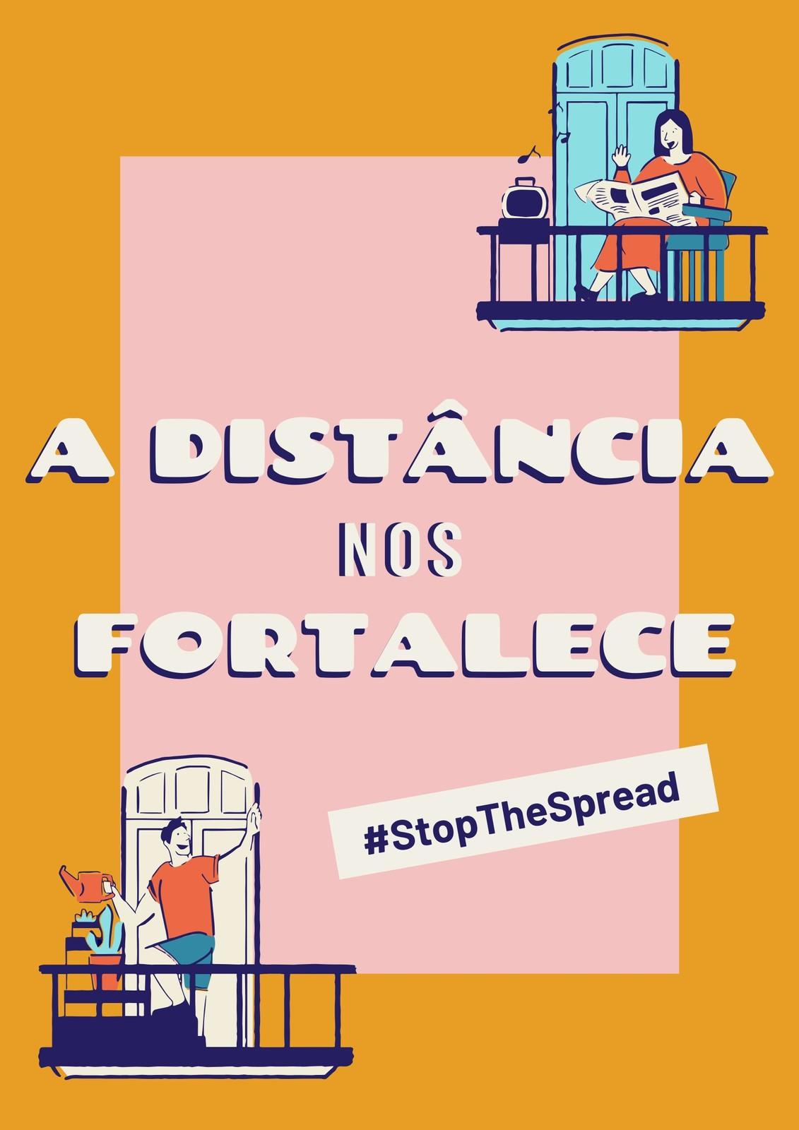 Cartaz Amarelo e Rosa da Campanha Distância Fortalece