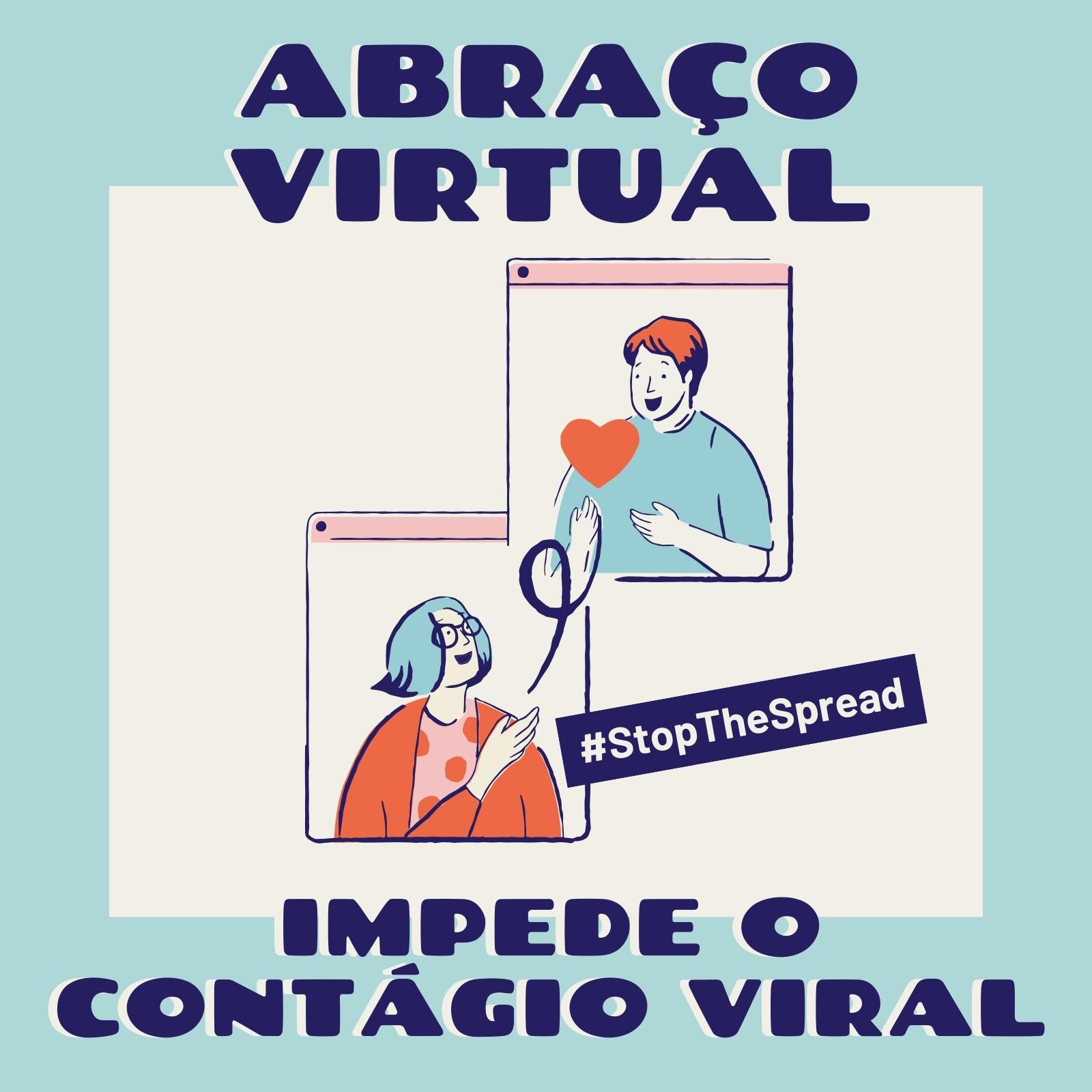 Post Azul e Creme de Abraço Virtual para Instagram