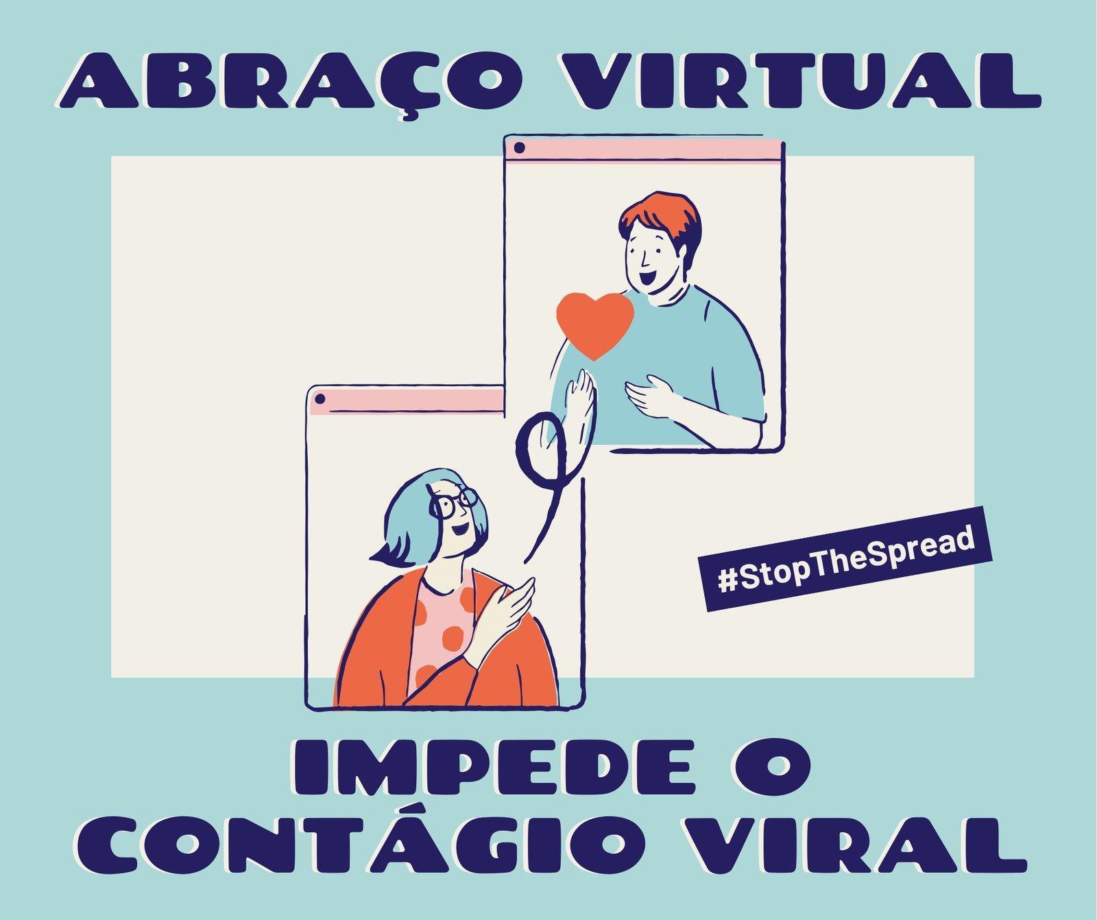 Post Azul e Creme de Abraço Virtual para Facebook