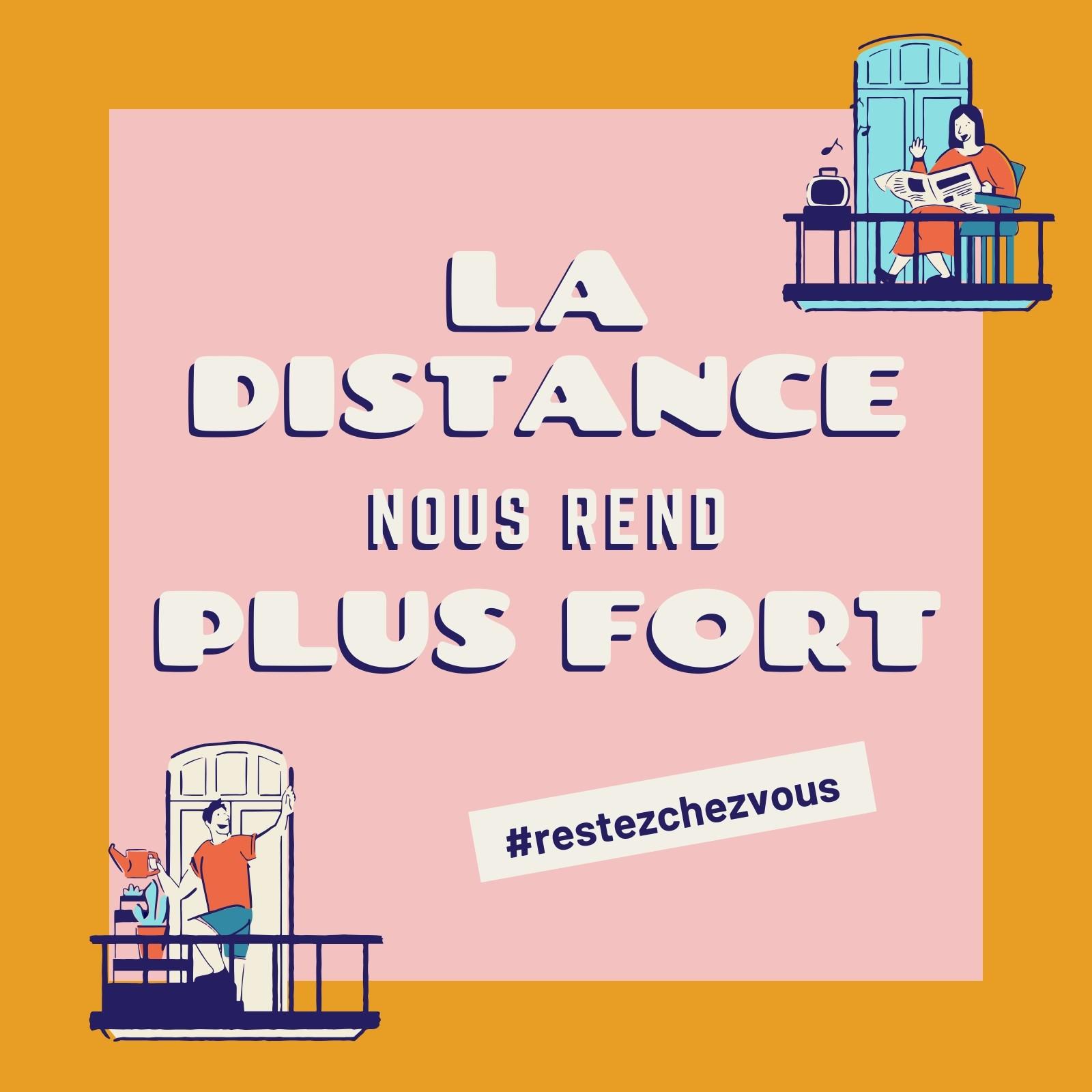 Publication Instagram COVID-19 distanciation sociale illustré rose et doré