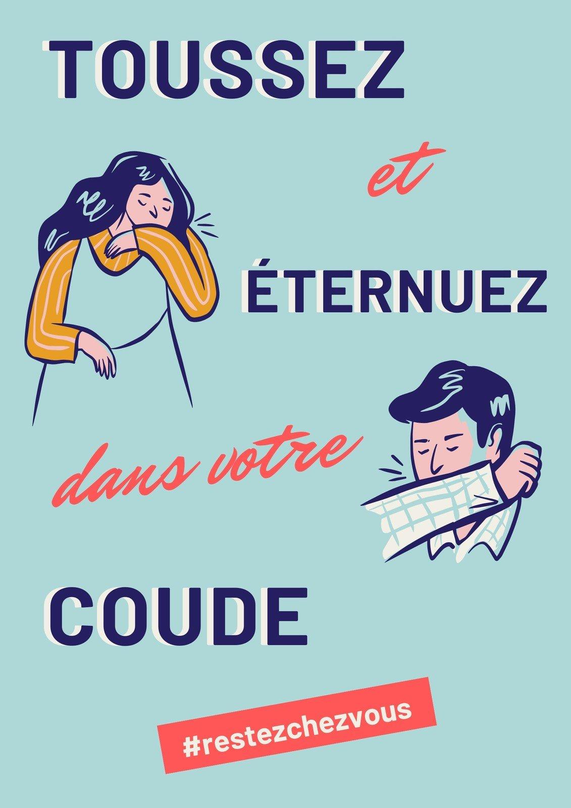 Poster COVID-19 illustré bleu et rose