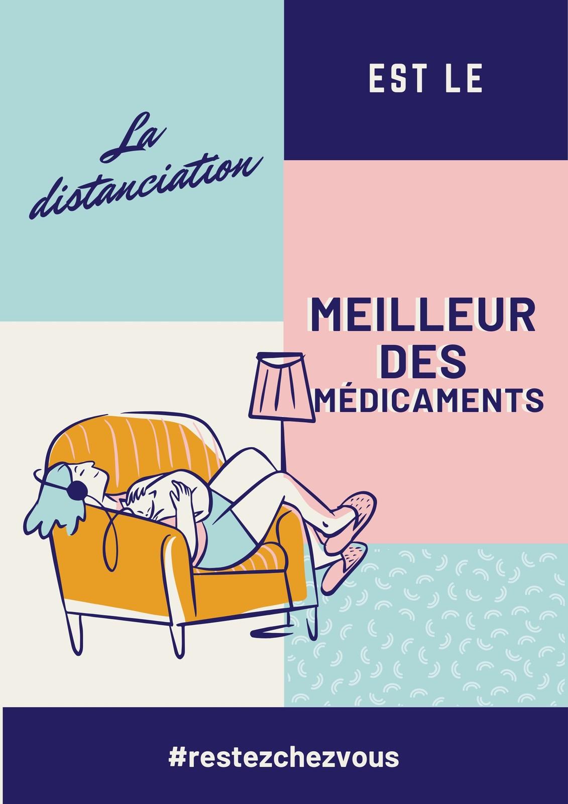 Poster COVID-19 distanciation sociale bleu, rose et crème