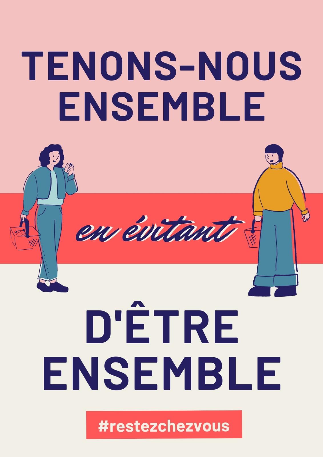Poster COVID-19 distance sociale vintage rose et crème