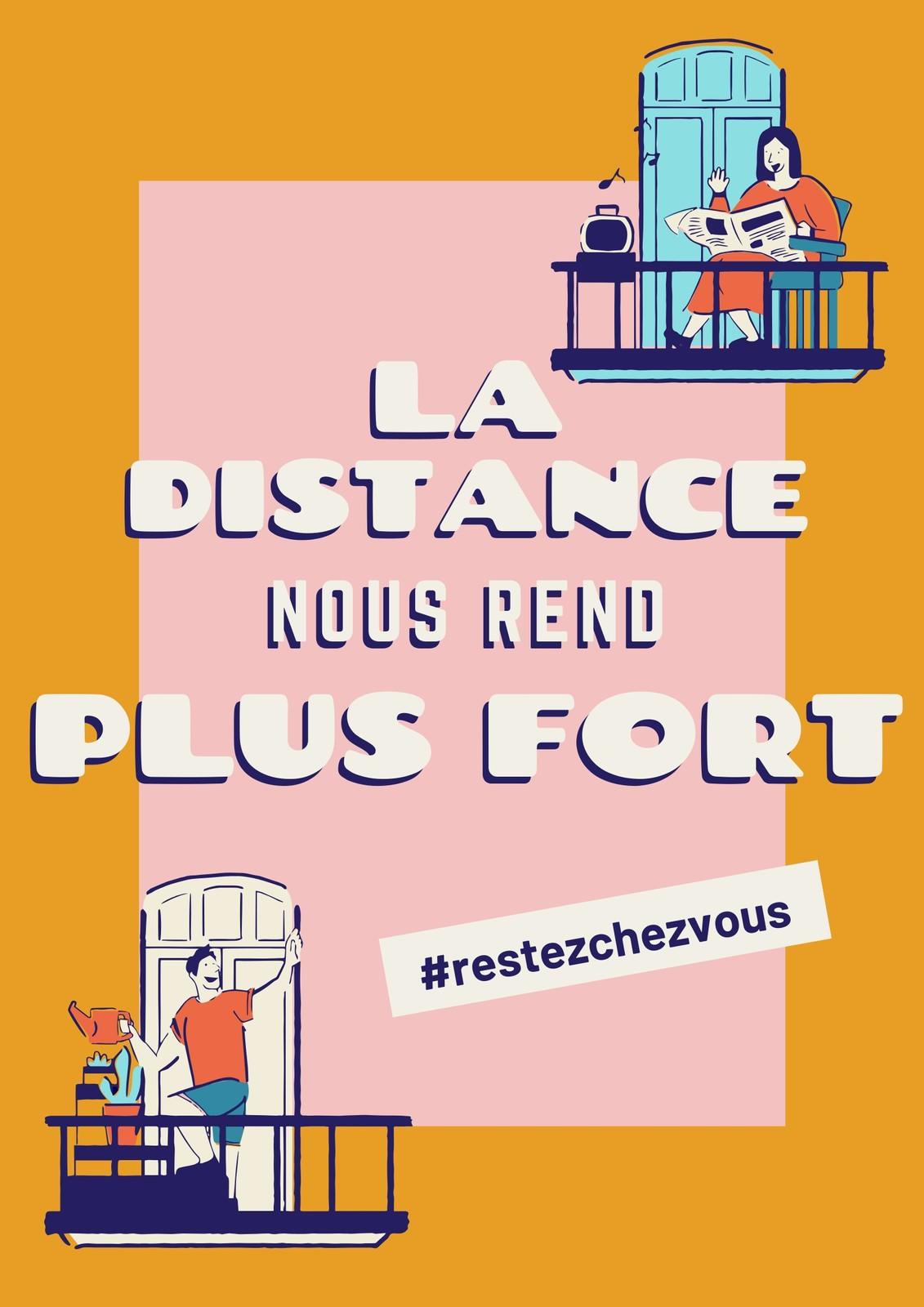 Poster COVID-19 distanciation sociale illustré rose et doré