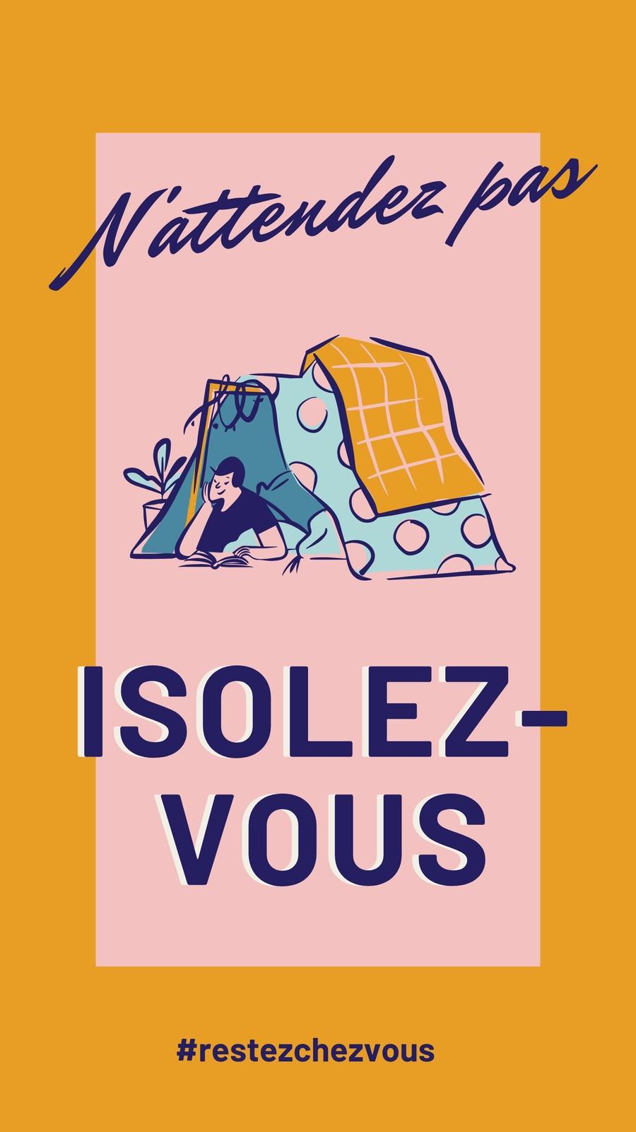 Poster COVID-19 vintage rose, bleu et jaune